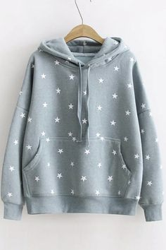 Women's Star Print Long Sleeve Casual Pullover Loose Hoodie