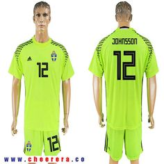 dd2009ae2 Sweden 12 JOHNSSON Fluorescent Green Goalkeeper 2018 FIFA World Cup Soccer  Jersey