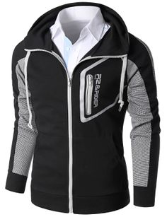 Doublju Men's Raglan Sleeve High Neck Zip-up Hoodie (KMOHOL075) #doublju