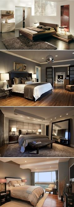 Love the glass doors opening into bedroom - maybe do frosted? Also need to think about pot lights. LOVE that huge mirror!