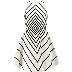 Halston Heritage Appliquéd cotton and silk-blend mini dress ($250) ❤ liked on Polyvore featuring dresses, white, short white dresses, halston heritage dress, fitted dresses, keyhole dress and fitted mini dress