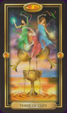 Tarot card meanings for the Three of Cups from the minor arcana including Tarot card combinations. Comprehensive index of the 78 tarot cards meanings with Josephine Ellershaw The Sun Tarot, Love Tarot, Tarot By Cecelia, Free Tarot Reading, Tarot Learning, Tarot Card Meanings, Major Arcana, Oracle Cards, Tarot Decks
