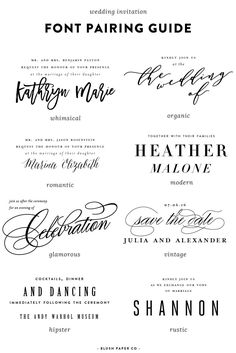 guide to using fonts on wedding invitations - Pittsburgh Luxury Wedding Invitations | Blush Paper Co.