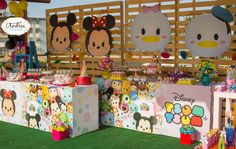 Not sure where this pin is from but love all the decorations.  I love the big Tsum Tsums on the back wall.