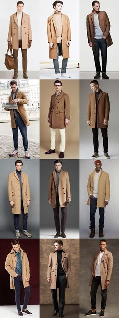 Men's Camel Overcoat Outfit Inspiration Lookbook