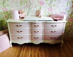 Old White and Antoinette Annie Sloan Chalk Paint French Provincial Style Dresser by LDV French Provincial Furniture, Shabby Chic Dresser, Shabby Chic Furniture, Painted French Provincial Furniture, Refurbished Furniture, Cheap Furniture Website, Furniture Makeover, Pink Furniture, Redo Furniture