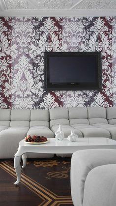 Living room with neo baroque interior design -- lovely wallpaper! Top Interior Designers, Interior Design Studio, Luxury Interior Design, Best Interior, Interior Architecture, Antik Sofa, Hotel Decor, Coffee Table Design, Deco Design