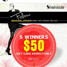 #ShareIG #sheinside #giveaway #giftcard #50dollars @sheinside_official