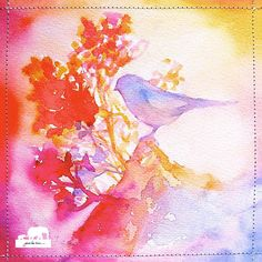 Watercolor Art Print. Abstract Bird Silhouette of by GinaLeeKim