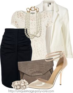 """""""Lace & Pearls"""" by uniqueimage ❤ liked on Polyvore"""