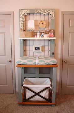 Such a cute changing station! It is actually made to be a potters bench. Add the shelf for extra storage.
