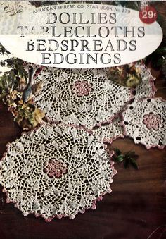 """Crochet and Tatting Pattern booklet for Doilies and Bedspreads digital file via Etsy Click """"Like""""and  find more patterns:https://www.etsy.com/shop/Patternstriedandtrue"""