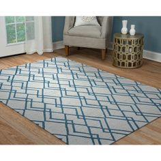 Arden Loft Easley Meadow Grey/ Blue Geometric Abstract Hand-tufted Wool Area Rug (10' x 14')