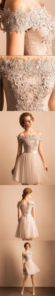 2017 Homecoming Dress Off-the-shoulder Lace Short Prom Dress Party Dress JK105 #homecomingdressesshort #shortpromdresses