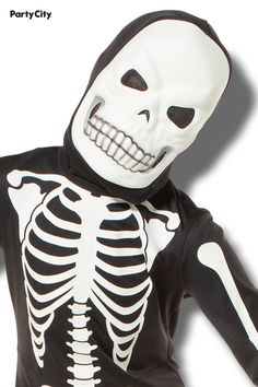 Watch your little one brighten up the night on Halloween in a X-ray Skeleton Costume for boys. The skeleton costume includes a black jumpsuit with glow-in-the-dark bones, matching gloves, and a skull mask. Your little one will have skele-tons of fun trick-or-treating in this costume! Boy Costumes, Halloween Costumes, Skull Mask, Black Jumpsuit, Skeleton, The Darkest, Bones, Glow, Watch