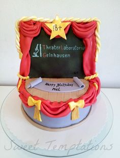 Theater cake - Birthday cake for a theater actor. Cake is filled with vanillasponge and coconut pineapple cream ;) Everything is edible!!