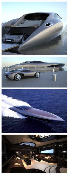 Iate ultra luxuoso que já vem com carro ultra exclusivo de brinde. #luxuryyachts