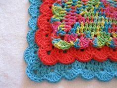 Crochet Wash Cloths - Set of Three Neon, Turquoise, and Orange Scalloped Granny Square Cotton Dish Cloth