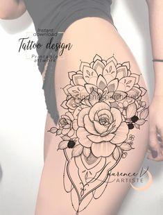 Thigh Sleeve Tattoo, Cute Thigh Tattoos, Hip Tattoos Women, Sleeve Tattoos For Women, Leg Tattoos, Tattos, Mandala Tattoo Leg, Mandala Tattoo Design, Colorful Mandala Tattoo