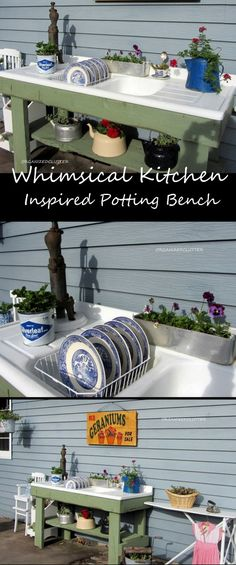 A potting bench made with a vintage sink.