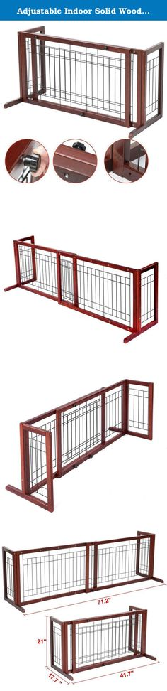 """Adjustable Indoor Solid Wood Construction Pet Fence Gate Free Standing Dog Gate. This gate features a beautiful hardwood construction which works for doors, hallways and double-door entries within 71"""". Great for Beagles, Bulldogs, Cockers, Spaniels, Lhasa Apsos, Miniature Poodles and similar sized dogs. It expands from 40"""" to 71"""" for larger doors and hallways."""