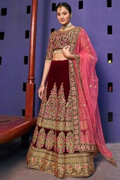 Maoon velvet semi stitch lehenga with velvet choli. This lehenga choli is embellished with resham, stone and dori work.Product are available in 32 to 58 sizes. It is perfect for Bridal Wear,Wedding Wear. Ethnic Fashion, Fashion Kids, Indian Fashion, Lehenga Online Shopping, Online Shopping Clothes, Shopping Mall, Lehenga Choli Online, Bridal Lehenga Choli, Choli Designs