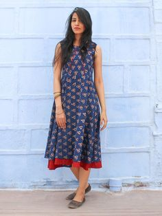 Indigo Cotton Hand Block Printed Dress