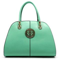 Fashion Logo Bowler Bag In Mint Color A classy, trendy and fashionable handbag.  Faux leather with zip top closure, gold-tone hardware and detachable shoulder strap.. Bags