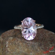 Custom Celebrity Light Pink Sapphire 9ct Diamond Engagement Ring Oval 14k 18k White Yellow Rose Gold-Platinum-Your size-Wedding-Anniversary