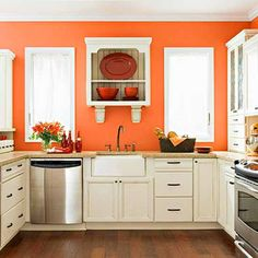 Great Color And I Love The Wallmounted Shelving Interior Decorating Ideas Orange Kitchen