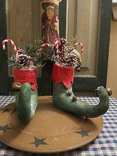 PRIMITIVE GRUNGY SANTA ELF BOOTS SHELF SITTER CHENILLE CANDY CANES ORNIES