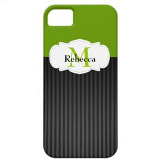 iPhone 5 case featuring a green and black background with gray stripes accented with a swirly white frame for monogram and name.