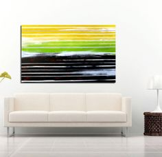 """Abstract painting, canvas art, Yellow striped landscape - Acrylic Modern Art - 20""""x30"""""""