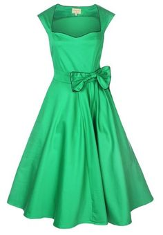 NEW CLASSY VINTAGE 1950's ROCKABILLY STYLE GREEN BOW SWING PARTY EVENING DRESS
