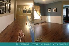 DIY: How beginners can install their own hardwood/laminate floors, chair rail, and baseboard in their spare time! Tons of photos! | Casa di Moo