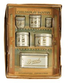 """Sanctuary: A Marquis Cataloged Auction of Antique Dolls - March 19, 2016: American Painted Tin """"Pantry Set"""" in Original Box"""