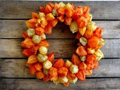 Dried Orange Chinese Lantern Wreath  Fall Decoration by SteliosArt