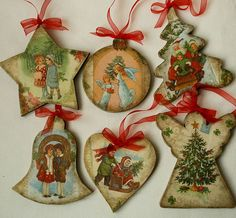 Christmas Decoupage, Christmas Card Crafts, Christmas Ornaments To Make, How To Make Ornaments, Handmade Christmas, Christmas Hearts, Navidad Diy, Victorian Christmas, Handmade Ornaments