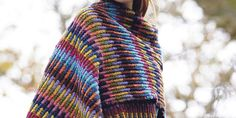 A simple stitch and a wealth of colour creates a stunning striped accessory. Wear it over a coat in the colder months, then on its own