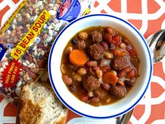 15 Bean Soup with Mini Meatballs from Hurst Beans blog! YUM!