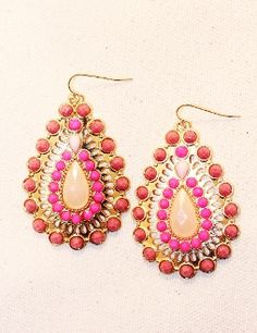 LOVE these! Bali Inspired Tear Drop Earring in Pink - Pink Chandelier Earrings at www.sabiboutique.com!