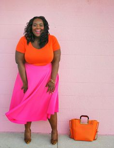 Musings of a Curvy Lady: Big & Bold #MusingsofaCurvyLady #Fashion #womensfashion #fashionblogger #plussizefashion #brightcolors #orangeandpinkoutfits #ootd #whatiwore #boldcolors #summeroutfit #curvy #style