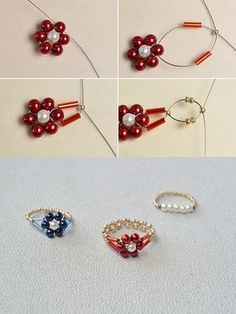 the pearl flower ring?The tutorial will be shared by LC., Like the pearl flower ring?The tutorial will be shared by LC., Like the pearl flower ring?The tutorial will be shared by LC. Diy Beaded Rings, Diy Jewelry Rings, Seed Bead Jewelry, Bead Jewellery, Beaded Earrings, Jewelry Crafts, Jewelry Making, Beaded Bracelets, Jewelry Ideas