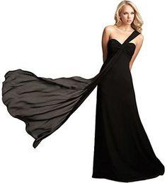 FashionファッションPlazaChiffonOne-shoulderBridesmaidFormalEveningPartyDressD0181(US4,Blackブラック黒)レディース\ドレス\ウェディングドレス