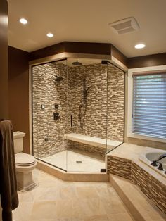 master bath... Love this look with the tile... But we would need the shower to be bigger double Dreaded and rain fall