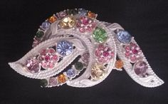 "Japanned Multi Color Rhinestone Pin. Measures 2 1/2"" x 1 1/2""  38.00 - Free US shipping. Questions? PM me via FB. PayPal Only."