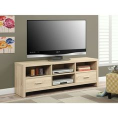 Light Wood-grain Modern 60-inch TV Stand Entertainment Center