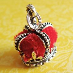 Vintage Red Velvet Crown Sterling Silver Charm by Beau
