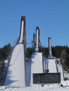 Ski Jumps in Lahti, Finland.  When I saw these in the flesh, I wasn't prepared for how frickin' TALL they are!  And people dress up in lycra, strap two planks to their feet and throw themselves off the top of them?  Those Finns are CRAZY!!