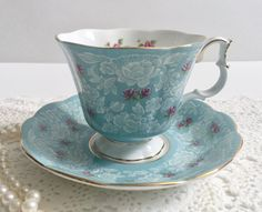 "Blue ""True Love"" Royal Albert China Tea Cup & Saucer"